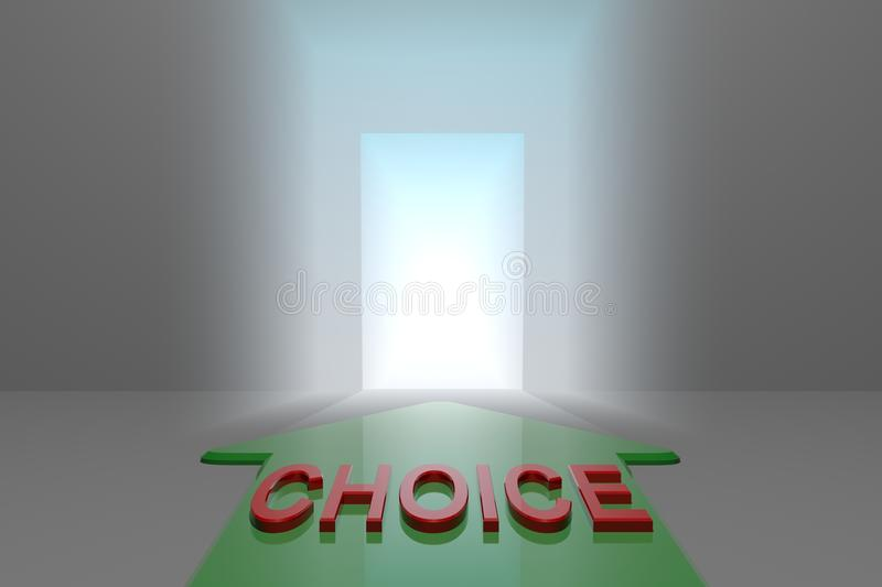 Choice to the open gate. Green arrow with choice word front of the open gate , 3d rendered royalty free illustration