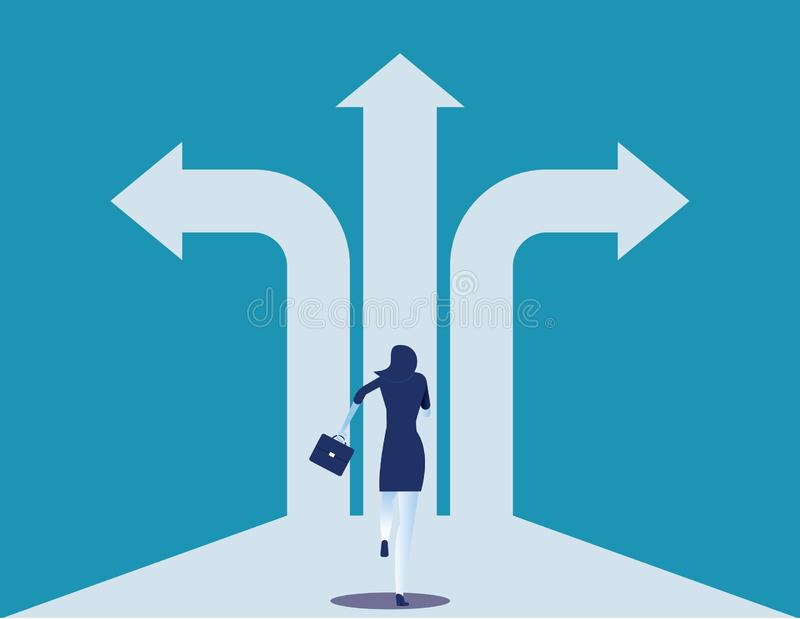 Choice way. Businesswoman with crossroads and decision to success. Concept business decision vector illustration stock illustration