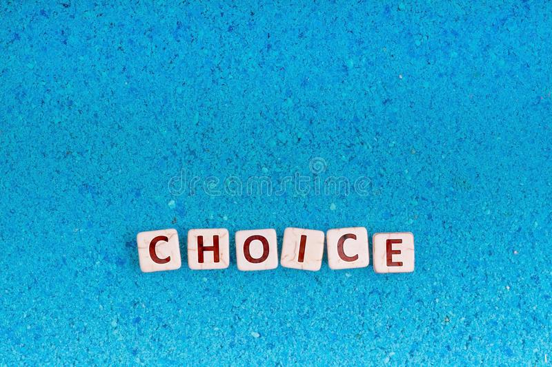 Choice word on stone stock images