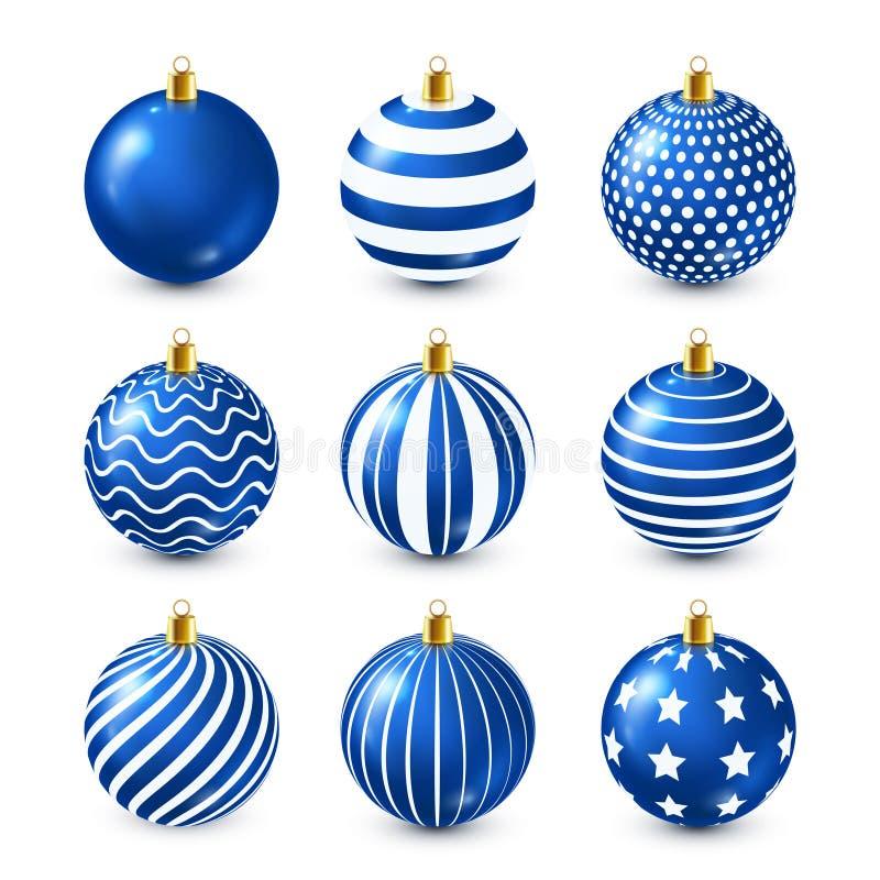 Choinek Błyszczące Błękitne piłki Ustawiać dekoracja nowego roku godziny krajobrazu sezonu zimę Grudni wakacje Powitanie prezenta ilustracji