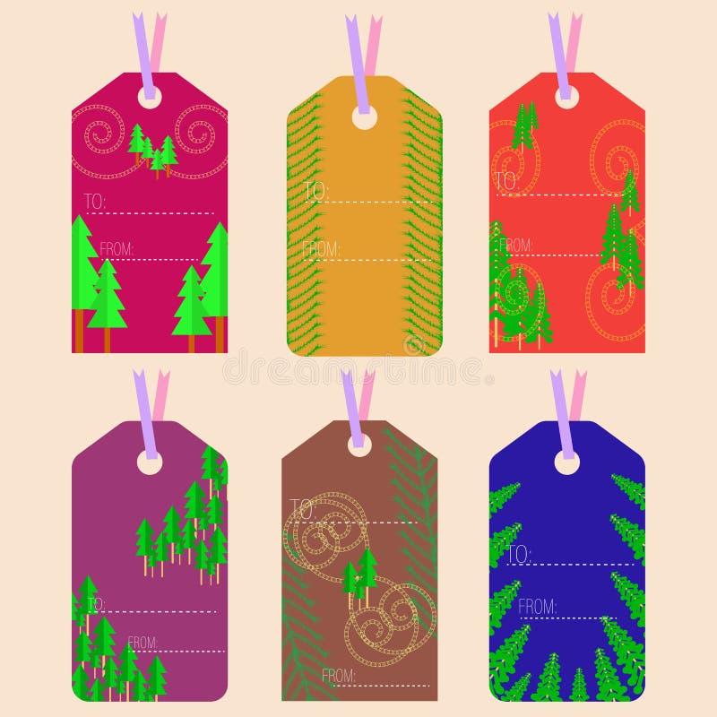Choinek etykietki z pomarańcze i fiołka kolorami ilustracji