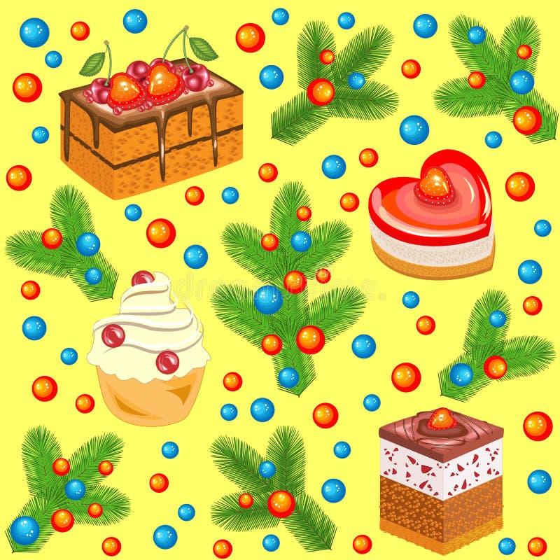 Choinek gałąź dekorować z jaskrawymi cukierków tortami i piłkami bezszwowy wzoru Stosowny dla pakować wakacyjnych prezenty tworzy royalty ilustracja