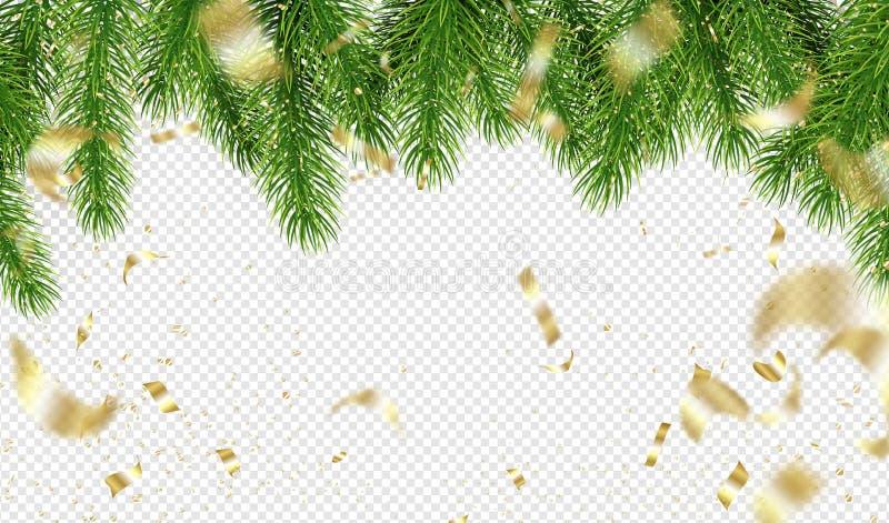 Choinek gałąź i Złoci confetti na przejrzystym tle Szablon dla Wakacyjnego projekta również zwrócić corel ilustracji wektora obraz royalty free