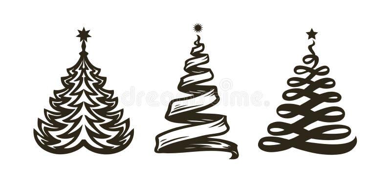Choinka, abstrakcjonistyczny symbol Wakacje, świętowanie etykietka lub logo, również zwrócić corel ilustracji wektora ilustracja wektor