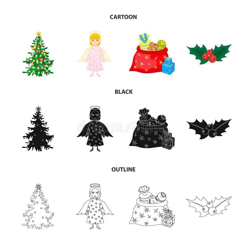 Choinka, anioł, prezenty i uświęcona kreskówka, czerń, kontur ikony w ustalonej kolekci dla projekta Bożenarodzeniowy wektorowy s royalty ilustracja