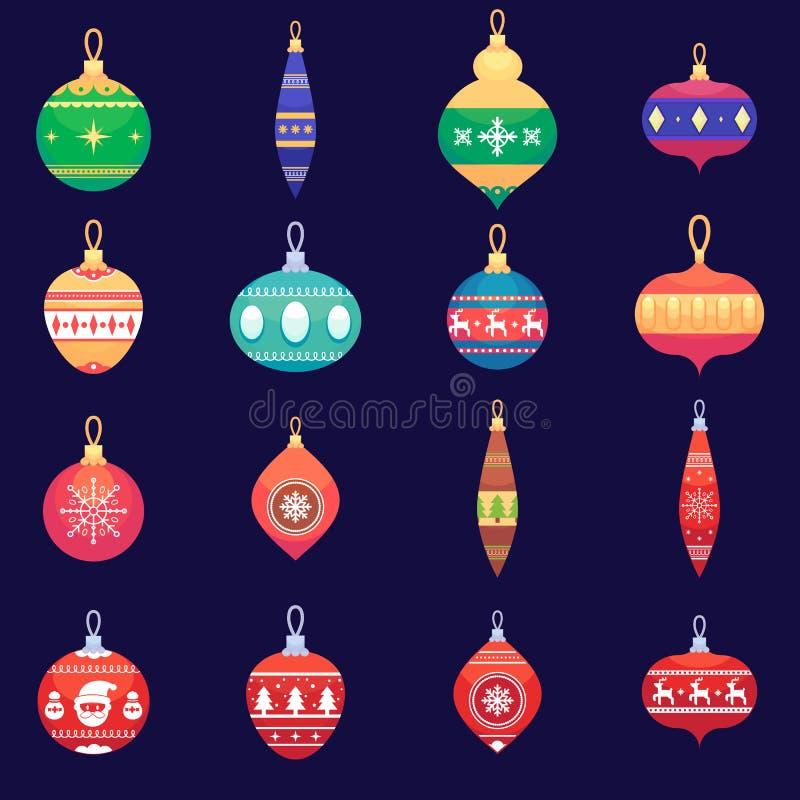 Choinka bawi się nowego roku xmas piłka ustawiającą Wektorową kolorową ilustrację w mieszkanie stylu royalty ilustracja