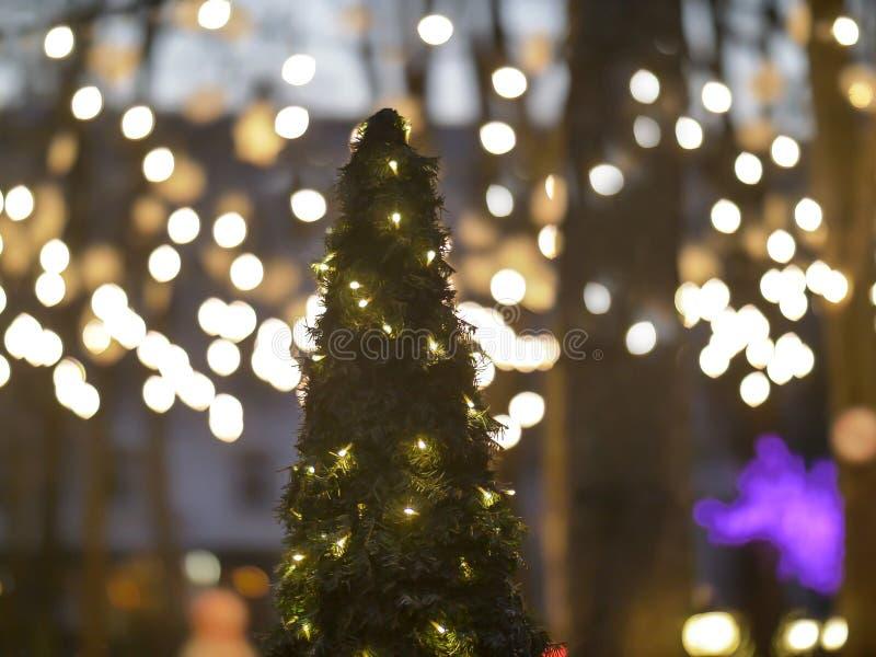 Choinka dekorował z lampionów stojakami w parku na ulicie, wakacyjny pojęcie zdjęcie royalty free