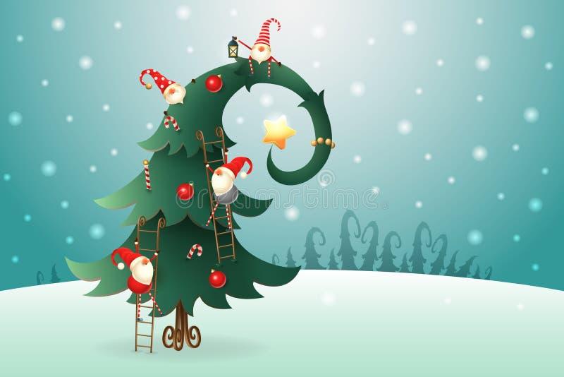 Choinka dekorował z Skandynawskimi gnomami które wspinają się po całym drzewo na zima krajobrazie ilustracja wektor