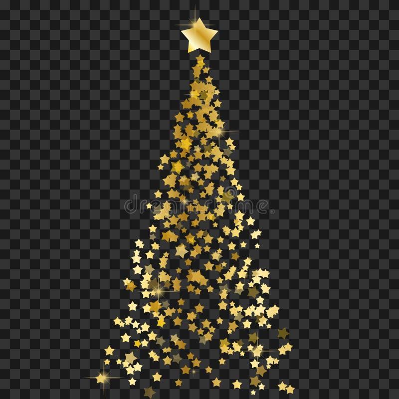 Choinka gwiazdy na przejrzystym tle Złocista choinka jako symbol Szczęśliwy nowy rok, Wesoło bożych narodzeń wakacje ce