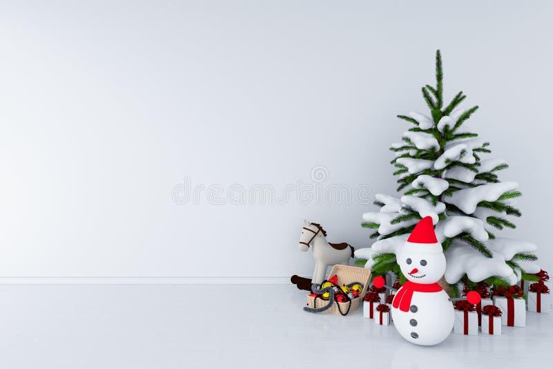 Choinka i śnieżny mężczyzna w białym pokoju, 3D rendering royalty ilustracja