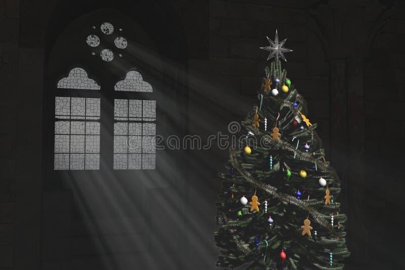 Choinka i Gocki okno zdjęcia royalty free
