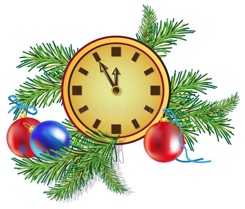 Choinka i zegar ilustracji