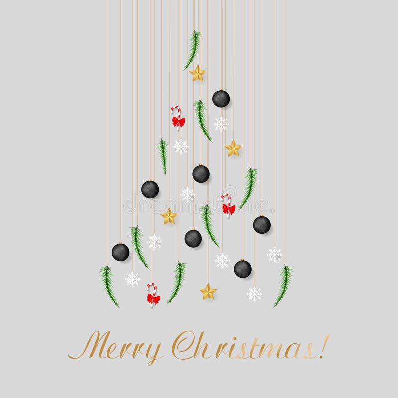 Choinka od sosnowej gałąź, Bożenarodzeniowe piłki, gwiazdy, słodka trzcina, płatek śniegu zdjęcia stock
