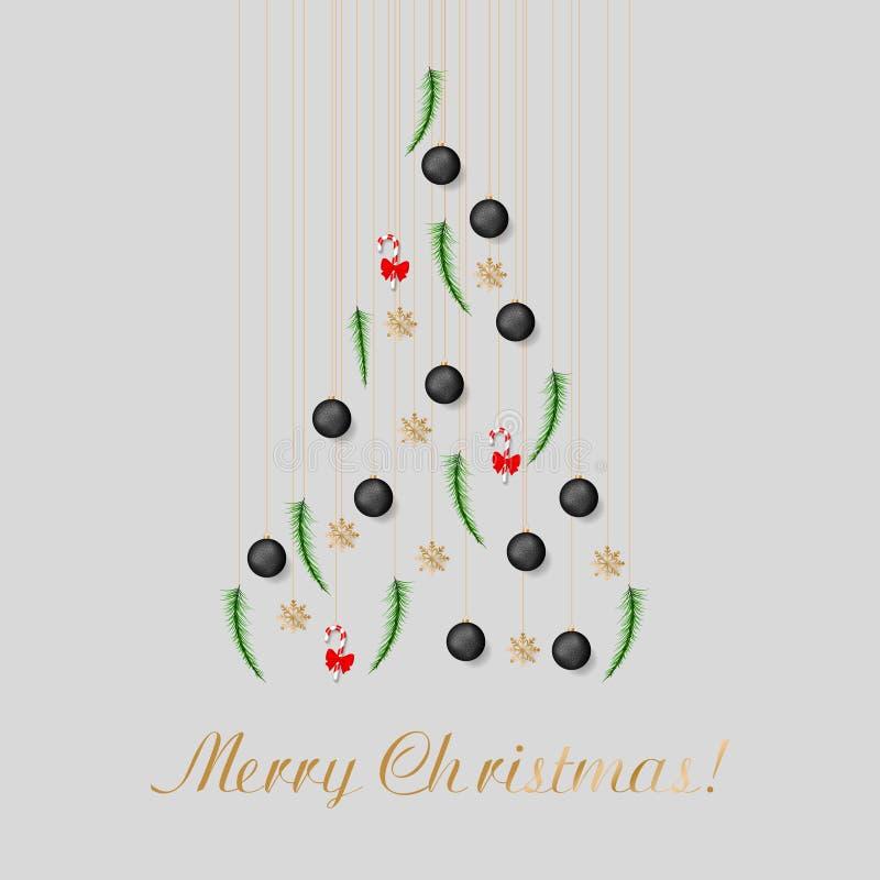 Choinka od sosnowej gałąź, Bożenarodzeniowe piłki, słodka trzcina, płatek śniegu zdjęcie royalty free