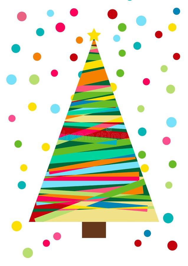 Choinka odizolowywająca w białym, wektorowym karnawałowym kolorowym wzorze, Świąteczny tło z confetti Choinka z deco ilustracji
