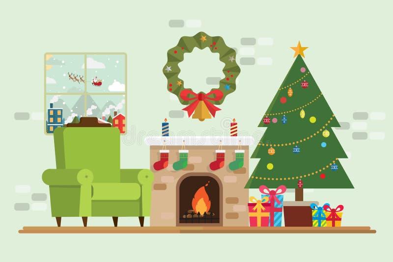 Choinka prezent Santa Claus w okno i dekoraci ilustracja wektor