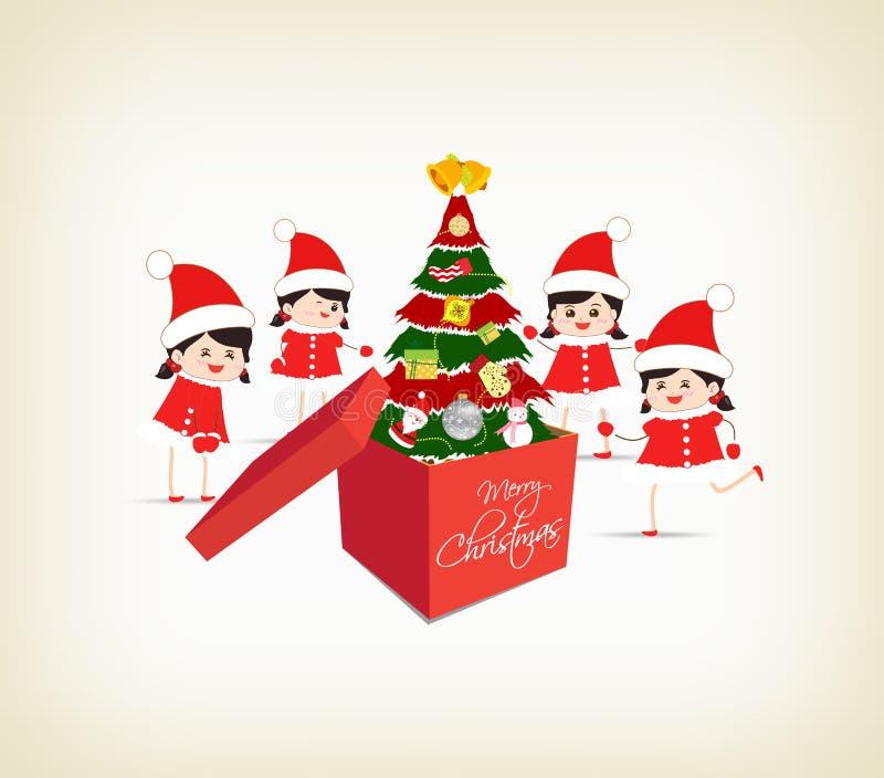 Choinka prezenta dzieciaków i pudełek kartka z pozdrowieniami ilustracja wektor