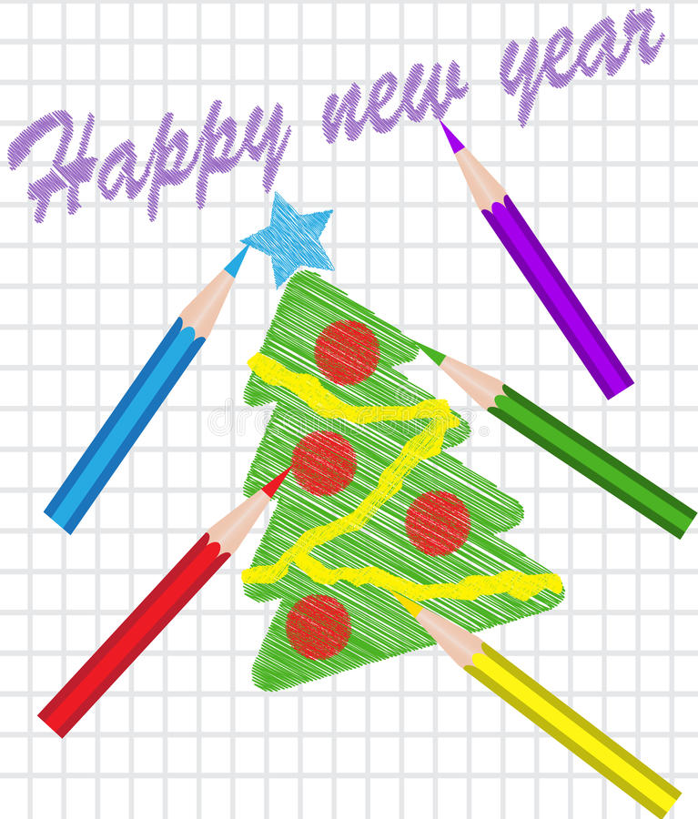 Choinka rysująca z barwionymi ołówkami ilustracji