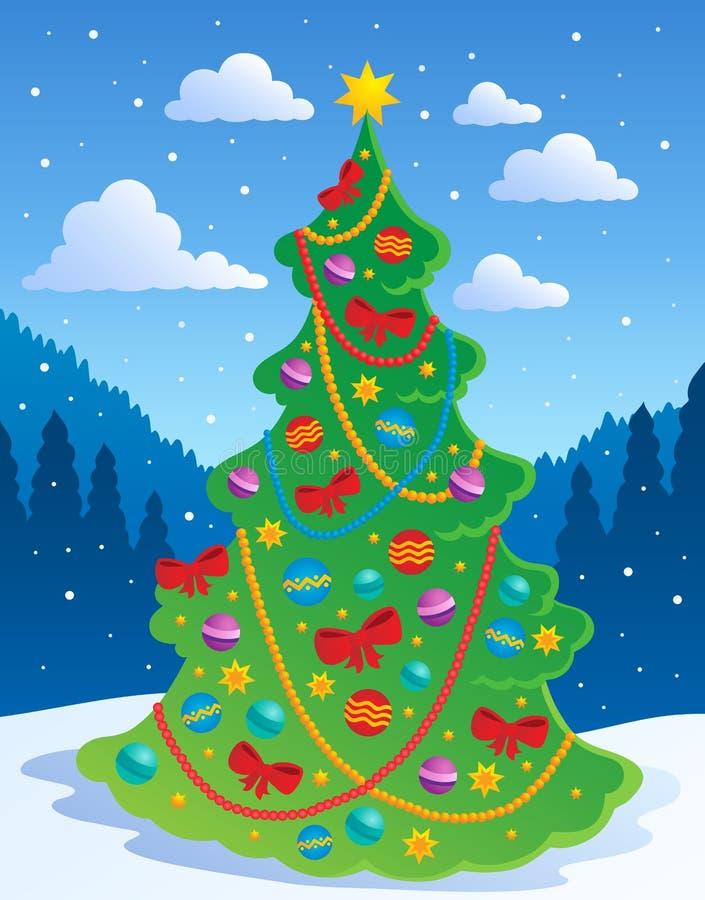 Download Choinka temat 3 ilustracja wektor. Obraz złożonej z christmas - 26974420