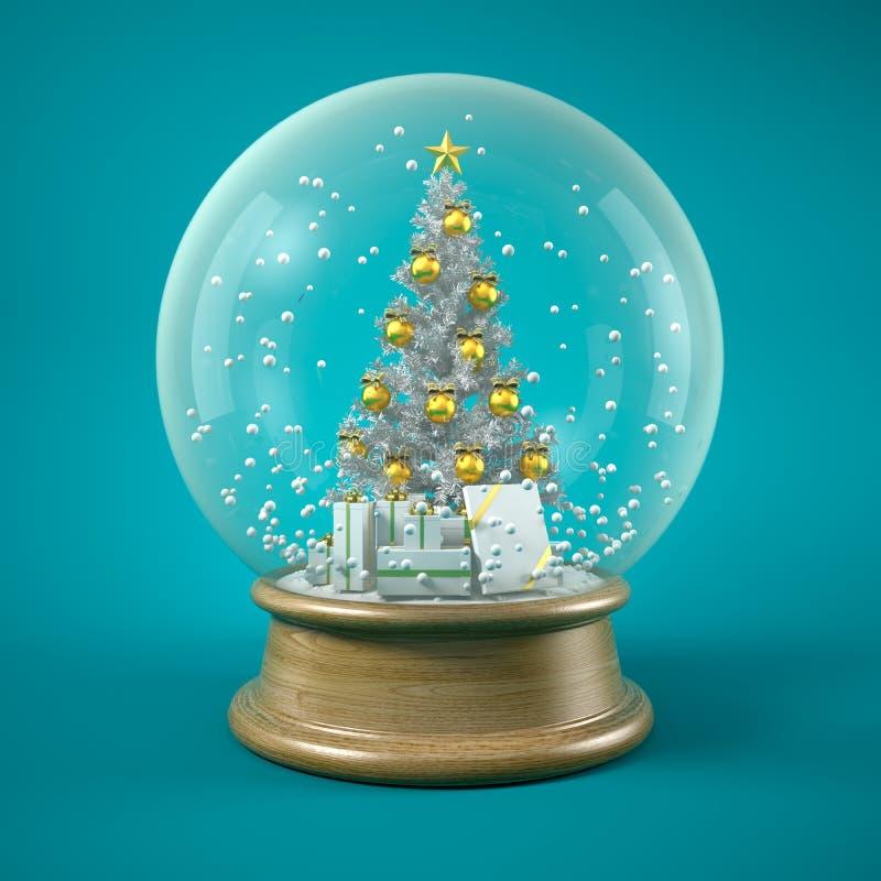 Choinka w śnieżnej piłki 3D ilustracji ilustracja wektor