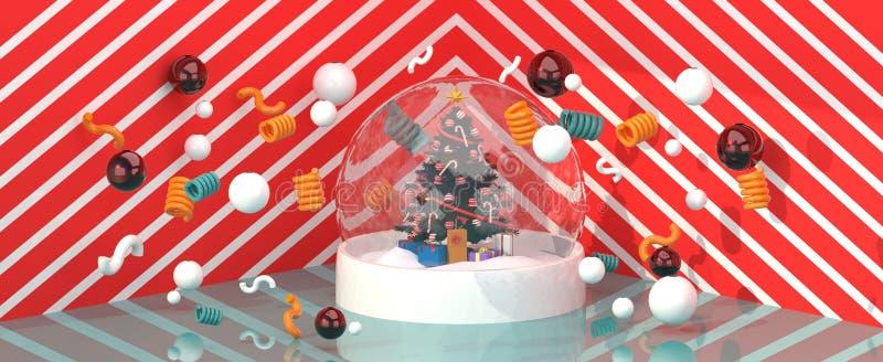 Choinka w szklanej piłce wśród kolorowych piłek na czerwonym i białym tle ilustracji