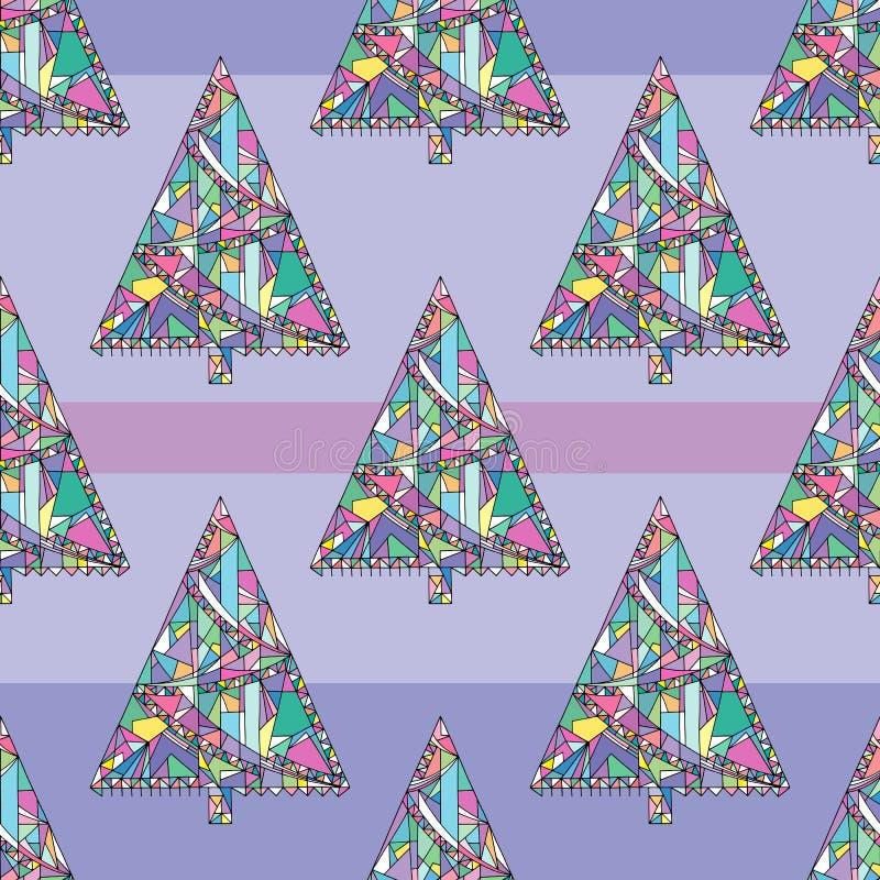 Choinka wzór Abstrakta Xmas bezszwowy tło Zima wakacji wektorowa tekstura dla tapety, opakunkowy papier royalty ilustracja