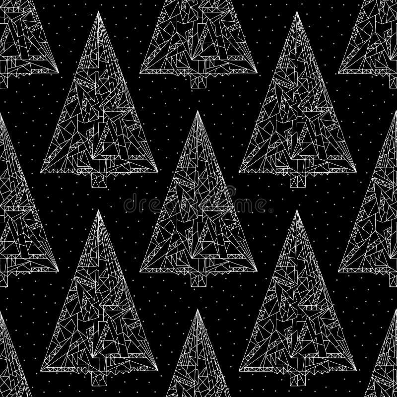 Choinka wzór Eleganckiej abstrakta Xmas nocy bezszwowy tło Zima wakacji wektorowa tekstura dla tapety ilustracji