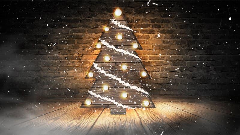 Choinka z światłami na drewnianej podłodze, zaświeca, światła, światła, świecenie, dym fotografia royalty free