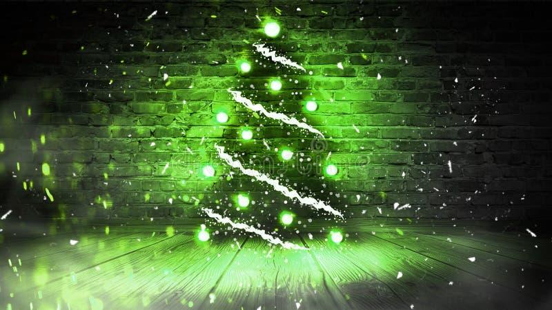Choinka z światłami na drewnianej podłodze, zaświeca, światła, światła, świecenie, dym zdjęcia stock