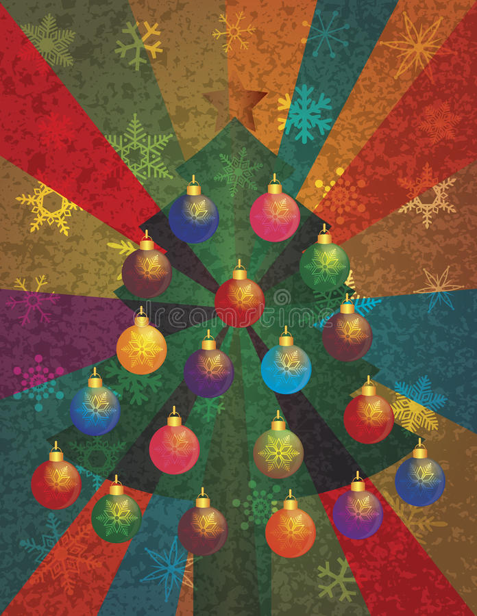 Choinka z Ornamentami na Promieni Tle ilustracji