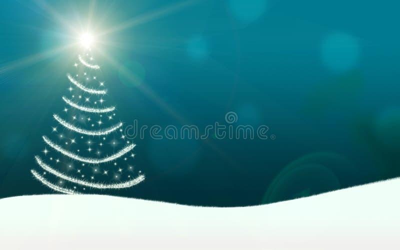 Choinka zaświeca gwiazdy błyskawicy lśnienie ilustracja wektor