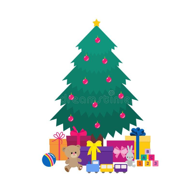 Choinka, zabawki, prezentów pudełka pod nim, odizolowywający na białym tle ilustracji