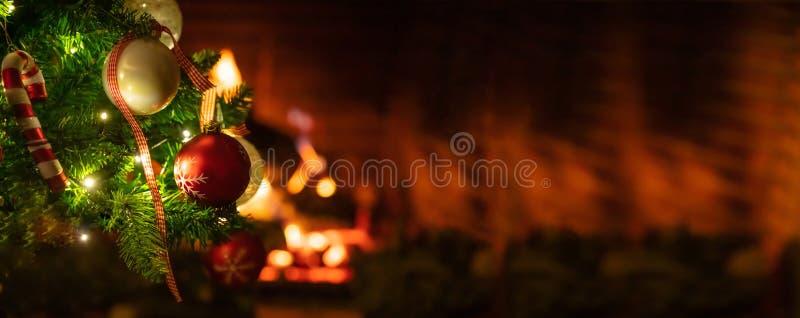 Choinka zamknięta up na zamazanym płonącym graby tle fotografia royalty free