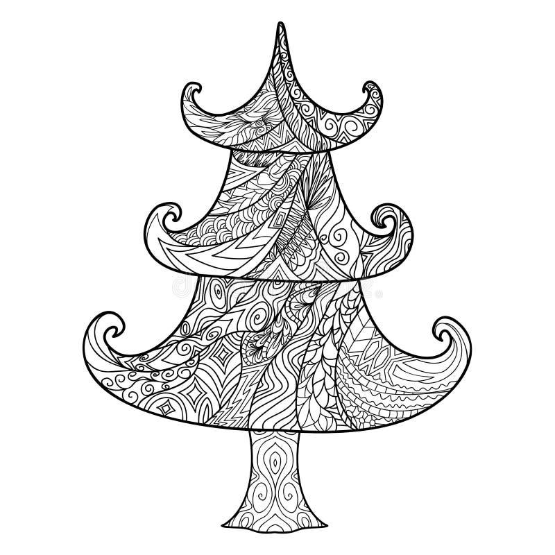 Choinka, zendoodle projekta element royalty ilustracja