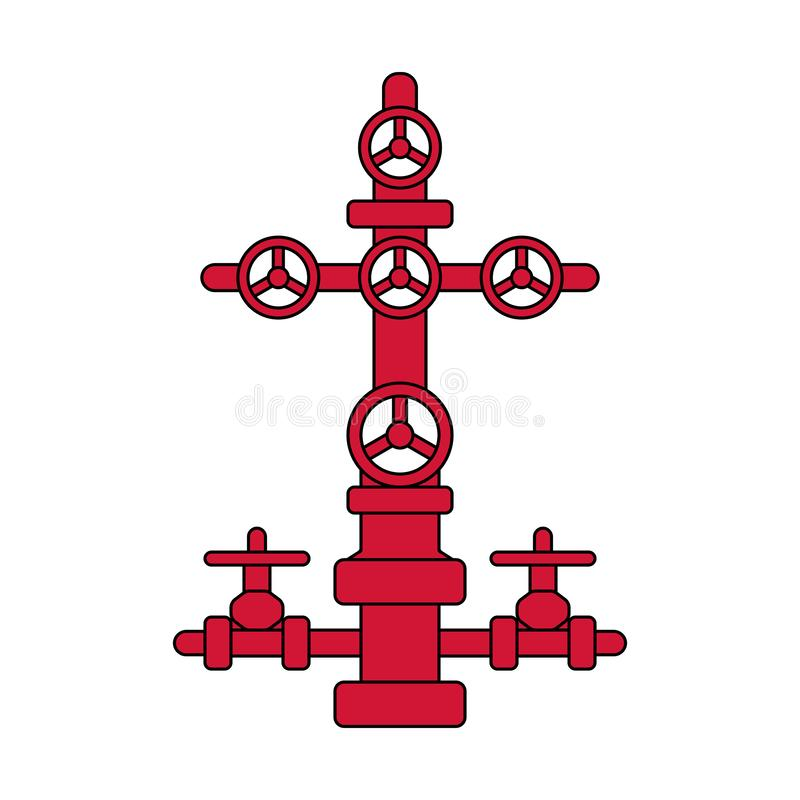 Choinka znak dla ropa i gaz studni; czerwony i czarny mieszkanie ve ilustracja wektor