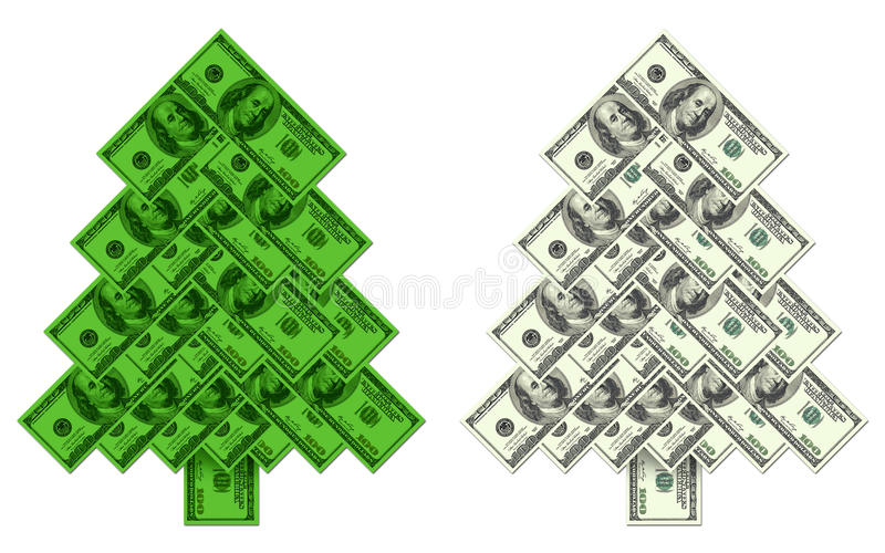 Choinka zrobił †‹â€ ‹sto dolarowych banknotów ilustracja wektor