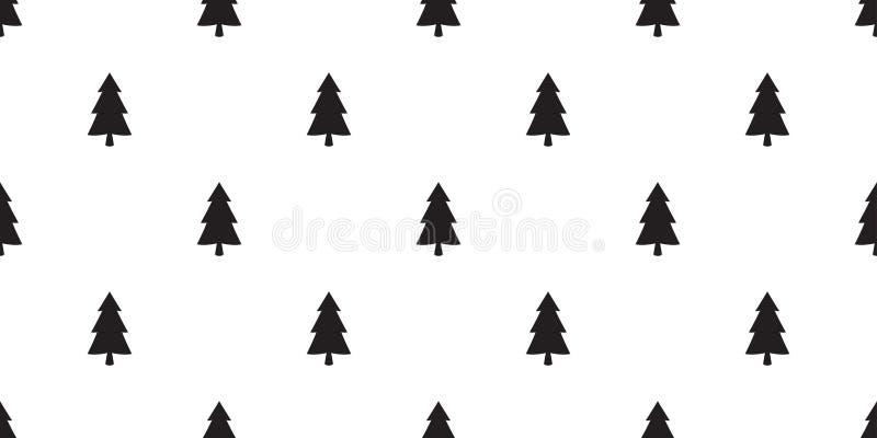 Choinki Święty Mikołaj nowego roku płytki tła bezszwowej deseniowej wektorowej śnieżnej lasowej drewnianej powtórki szalika tapet ilustracji