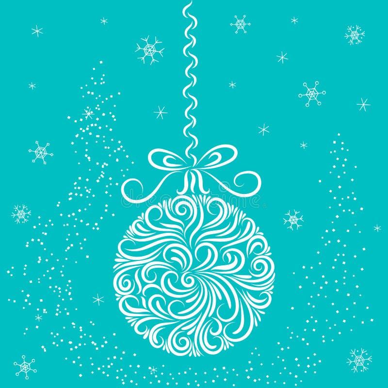 Choinki dekoracji piłka w białych i błękita kolorach Ornament nowego roku karty gratulacje ?wi?towanie p?atki ?niegu gwiazdy royalty ilustracja