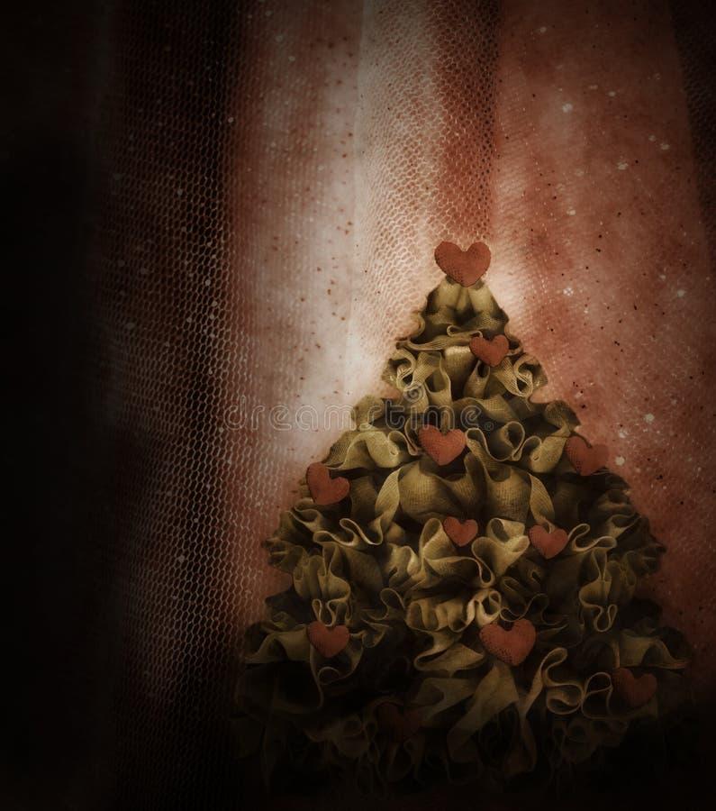 Choinki dekorujący czerwoni serca zdjęcie stock