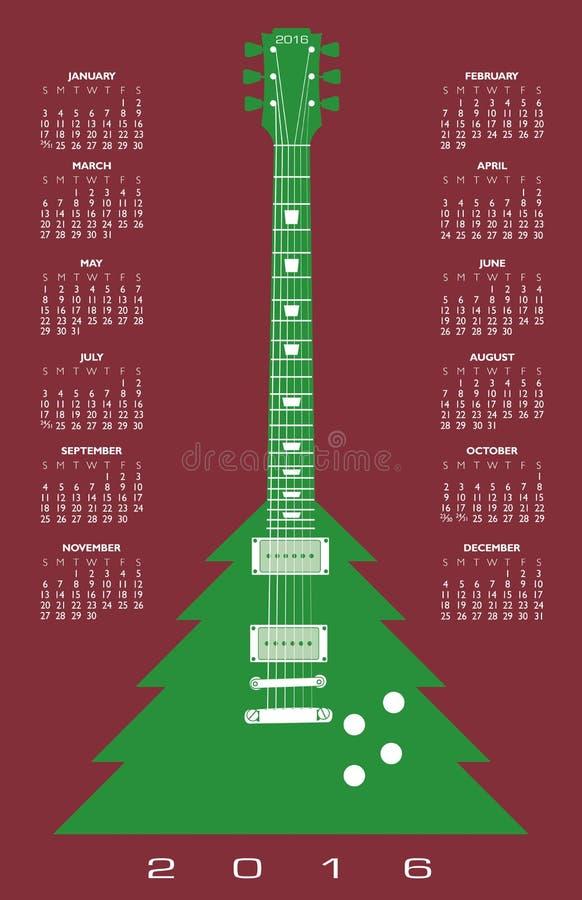 2016 choinki gitary kalendarz ilustracji