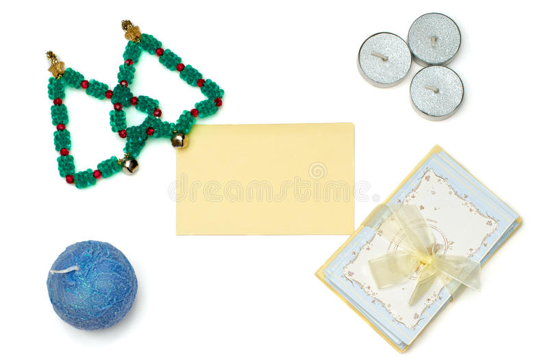 Choinki i kartka z pozdrowieniami z świeczkami zdjęcia royalty free