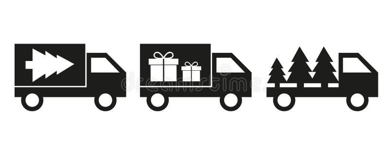 Choinki i prezenta doręczeniowego samochodu dostawczego ikony doręczeniowa usługa royalty ilustracja