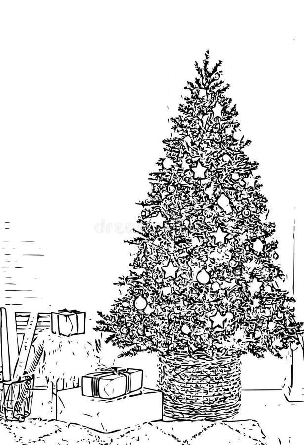 Choinki kolorystyki książki czerni nakreślenia Biała kreskówka ilustracji
