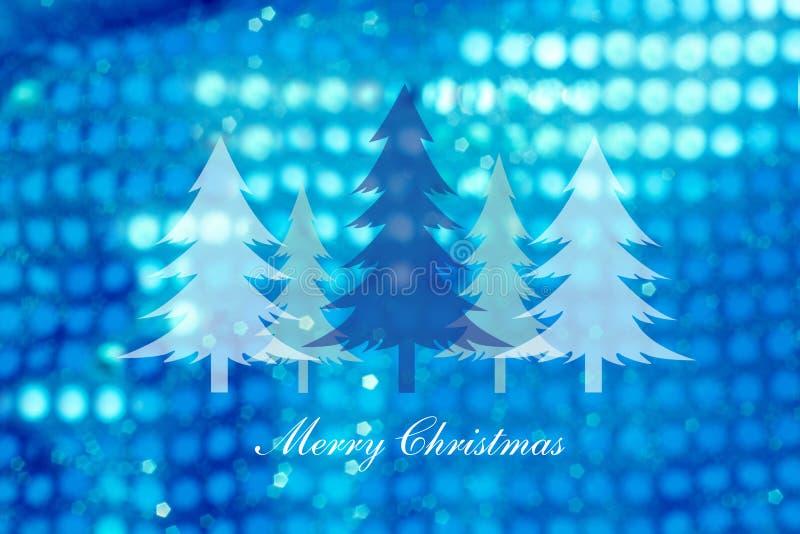 Choinki na abstrakta światła tle, kartki bożonarodzeniowa royalty ilustracja