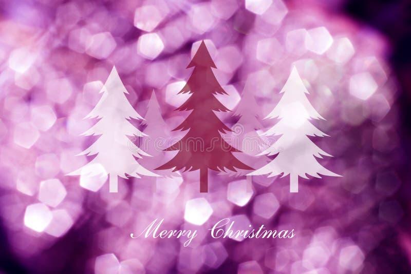 Choinki na abstrakta światła tle, kartki bożonarodzeniowa obraz stock
