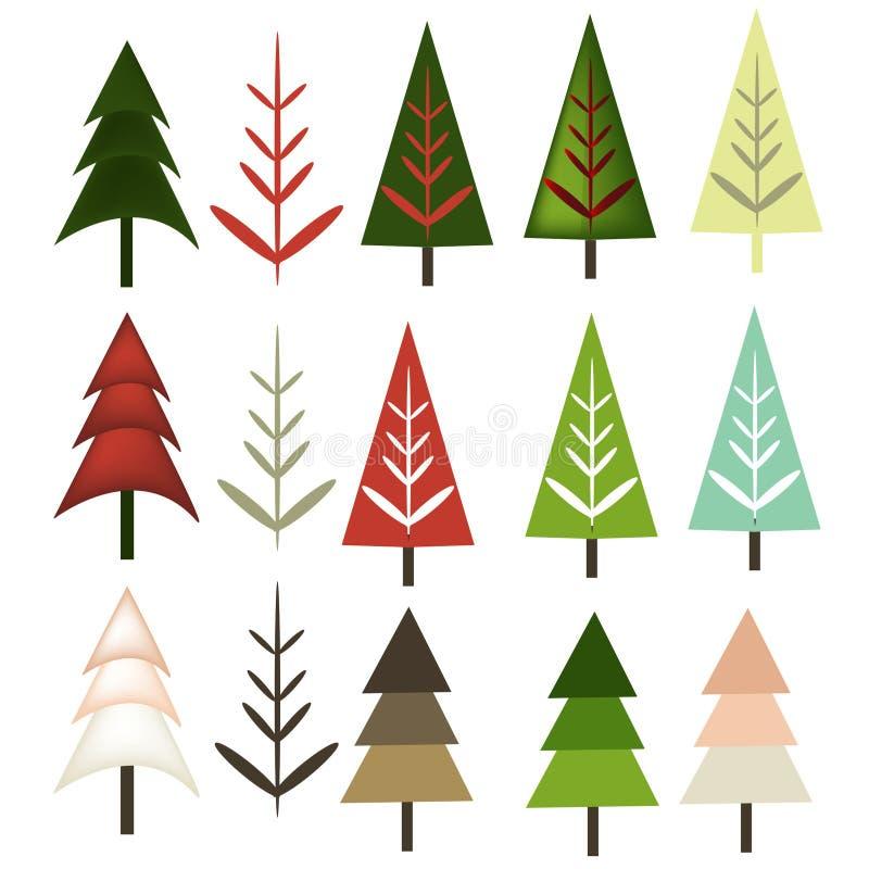 Choinki w różnorodnych kształtach ilustracja wektor