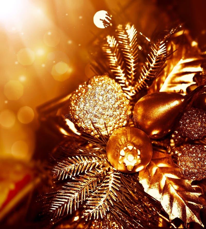 Choinki złota dekoracja zdjęcie stock
