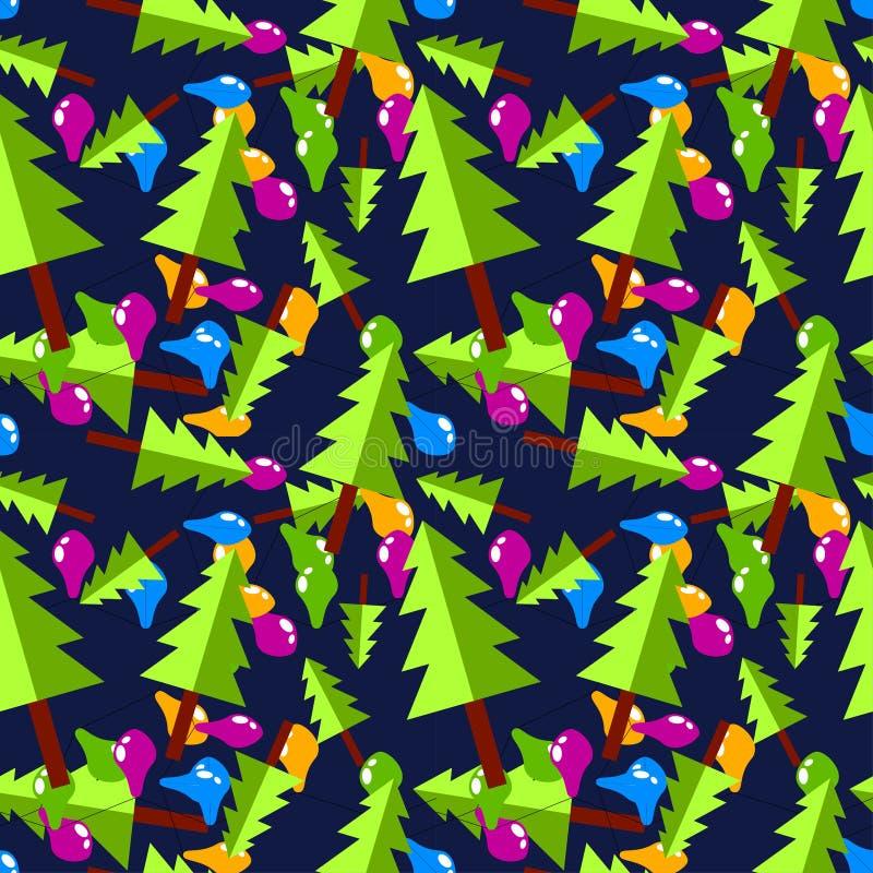 Choinki z barwionymi żarówkami na zmroku - błękitny tło ilustracja wektor
