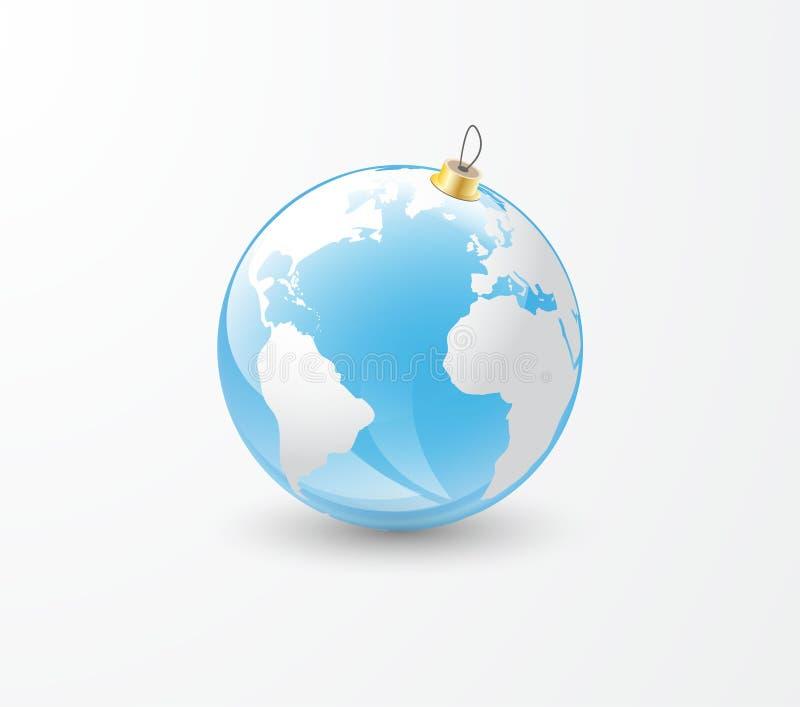 Choinki zabawki ziemi kula ziemska ilustracja wektor