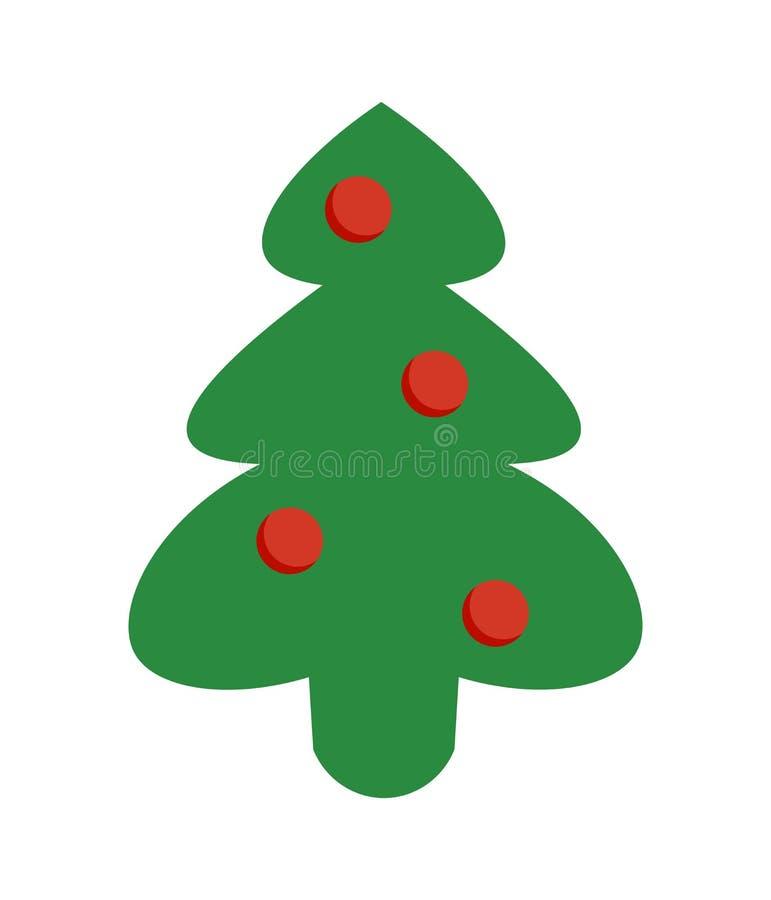 Choinki zielona ikona Wektorowa drzewna sylwetka odizolowywająca na białym tle Kreskówka obrazek royalty ilustracja